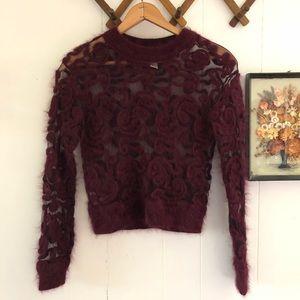 Angora & Mesh Sheer Cropped Sweater